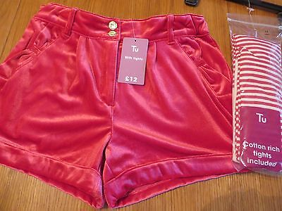 BNWT TU Girls Christmas Red Shorts and Tights Age 11