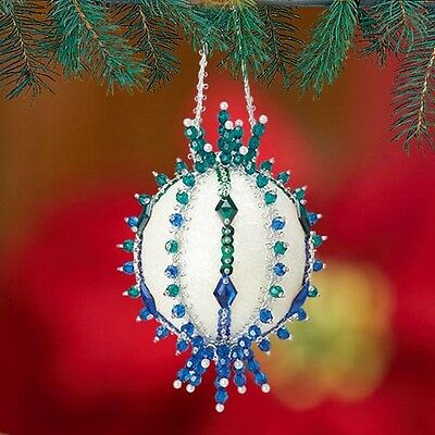 Kit Makes3 Ocean Waves Ornaments Sequin Beads Christmas Craft NEW