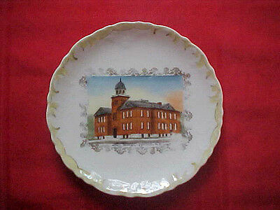 "MANDAN, N.D. - Souvenir China Dish - ""High School"" - 1900"
