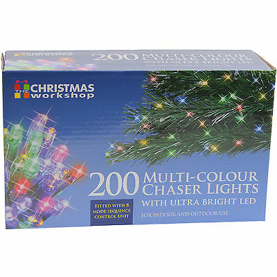 200 Multi-Colour Indoor Outdoor Christmas Chaser Lights With Ultra Bright Led