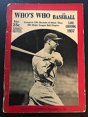 Vintage 1937 Who's Who In Baseball Guide Lou Gehrig Cover