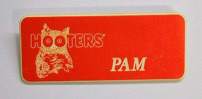 Pam - Hooters Restaurant Girl Orange Name Tag W/ White Letters (Pin) Pam