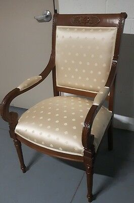 Pair Armchairs (2)  European Antique Louis Xvi Walnut & Authentic Italian Silk