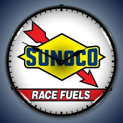 Sunoco Race Fuels Racing Backlit Lighted Wall Clock Retro Nostalgic Man Cave New