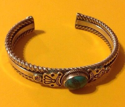 Sterling Silver .925 Turquoise Bracelet Cuff Signed E Heavy 39.9 Grams Native