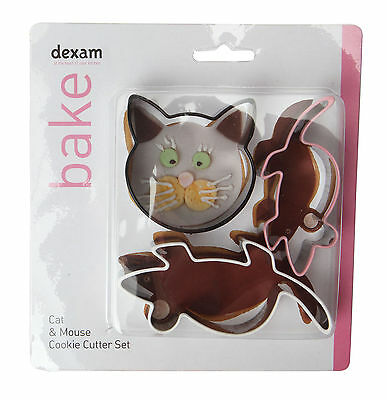 Dexam Cat & Mouse 3 Piece Cookie Cutter Set Biscuit Pastry Craft Children Baking