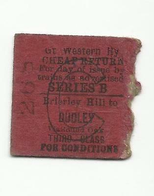 GWR ticket, Brierley Hill to Dudley, 1951