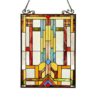 """PAIR Stained Glass Tiffany Style Window Panel Mission Arts & Crafts 17.5"""" x 25"""""""