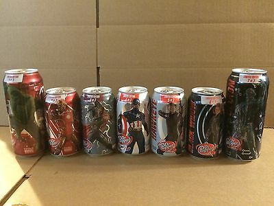 Complete Set Of 7 Avengers Age of Ultron Dr. Pepper Cans 12 & 16 Oz.
