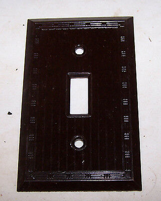 Vintage Brown SWITCH COVER Bakelite - Ribbed in Frame