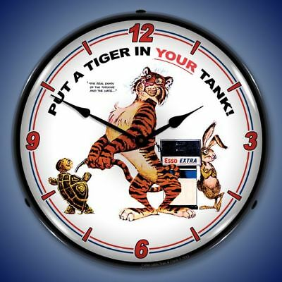 Esso Tiger Gas Service Station Backlit Lighted Wall Clock Retro Man Cave - New