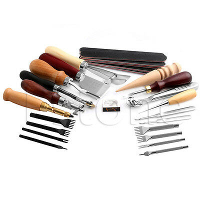 Leather Craft Punch Tool Kit Stitching Carving Working Sewing Saddle Groover