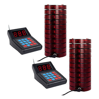 2x Restaurant Wireless Paging Queuing System 1 Transmitter+10 Pagers 433.92MHz