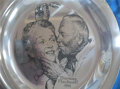 6 Oz..925 Sterling Norman Rockwell Christmas Plate 1971 Under The Mistletoe