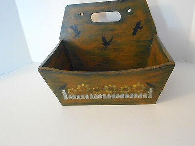 "hand painted/signed wood box ""catch all"" Crow/Raven sunflower wall mountable"