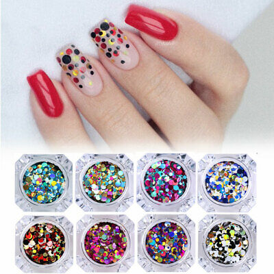 Ultrathin Nail Art Sequins UV Gel Colorful Shiny Round Stickers Decoration Tips