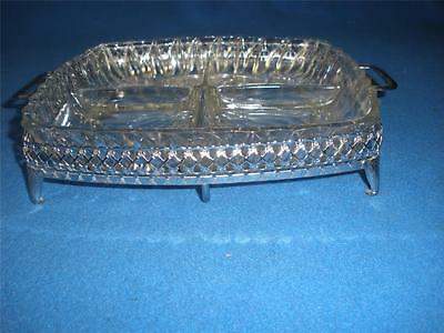 Fabulous Glass Patterned Divided Dish With Silver Plated Holder
