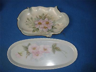 Fabulous Hand Painted Small Porcelain Dishes X 2