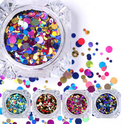 1 Box Ultrathin Nail Art Sequins UV Gel Colorful Shiny Round Decoration DIY Tips