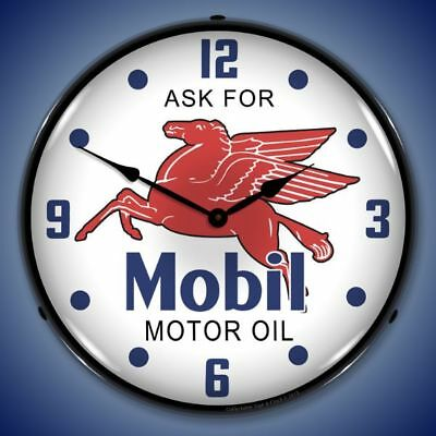 Mobil Motor Oil Pegasus Backlit Lighted Wall Clock Retro Vintage Man Cave - New