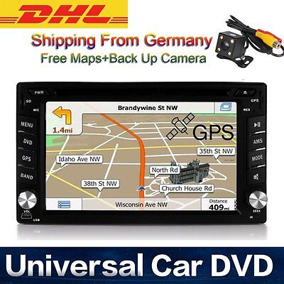 "6.2"" Bluetooth Double 2DIN Car DVD Player Stereo Autoradio GPS Rear Camera DHL"