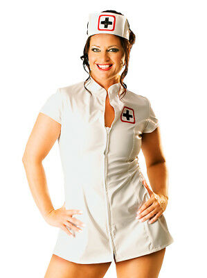 Honour Women's Sexy Nurse Dress Uniform in PVC White with Medical Badge & Cap
