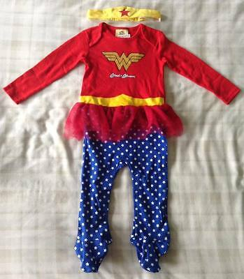 Baby Girls Wonder Woman All In One Babygrow Outfit/Fancy Dress Up/Costume 12-18m