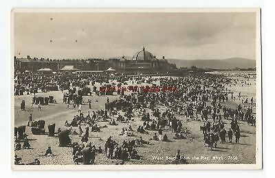 Wales Rhyl West Beach from Pier Real Photo Vintage Postcard 12.10