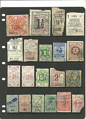 Selection 34 Different Great Britain Railway Letter Parcel/newspaper Stamps