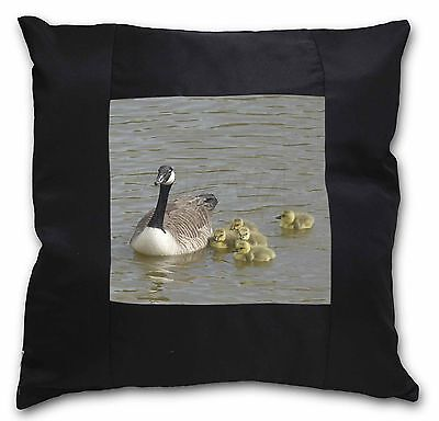 Canadian Geese and Goslings Black Border Satin Scatter Cushion Christ, AB-G1-CSB