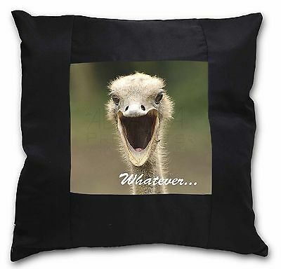 Ostritch with 'Whatever' Black Border Satin Scatter Cushion Christma, AB-OS2-CSB