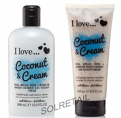 I Love… Coconut & Cream Shower Creme 500ml & Shower Smoothie 200ml Duo