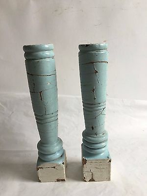 Two(2) RECLAIMED Wood Candlesticks SHABBY Candle Holders Antique Blue D26