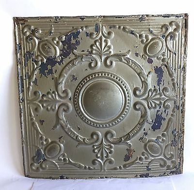 """1890's 24"""" x 24"""" Antique Reclaimed Tin Ceiling Tile Silver Gold Anniversary B59"""