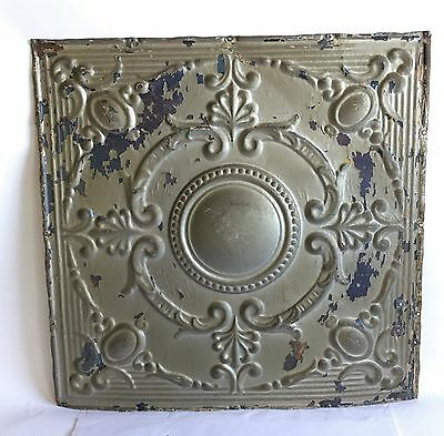 "1890's 24"" x 24"" Antique Reclaimed Tin Ceiling Tile Silver Gold Anniversary B59"