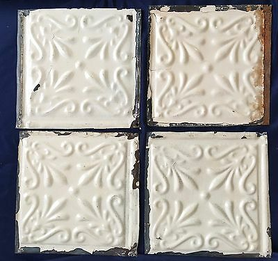 "1890's Reclaimed Tin Ceiling Tiles 4 6"" x 6"" Reclaimed Metal  Ivory D37a"