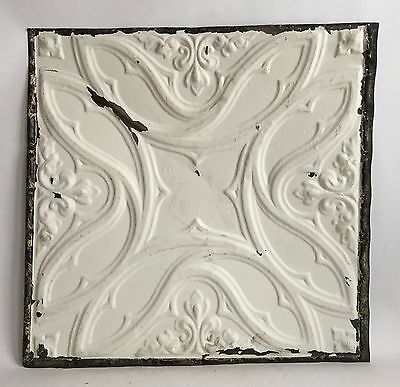 "1890's 24"" x 24"" Antique Reclaimed Tin Ceiling Tile  White C55a Metal"