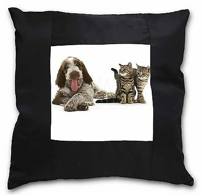 Italian Spinone Dog and Kittens Black Border Satin Scatter Cushion C, AD-SP1-CSB