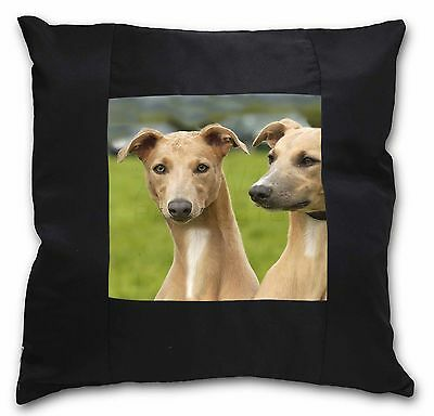 Whippet Dogs Black Border Satin Feel Cushion Cover With Pillow Inser, AD-WH1-CSB