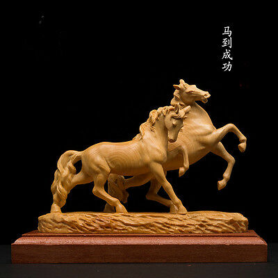 D028 - 14*8.5*11 CM Stunning Boxwood Carving: 2 Handsome Galloping Horses Sweet