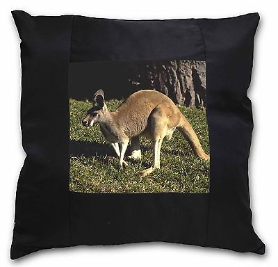 Kangaroo Black Border Satin Feel Cushion Cover With Pillow Insert, AK-2-CSB