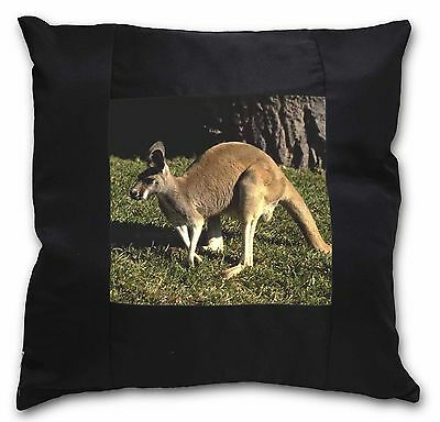 Kangaroo Black Border Satin Scatter Cushion Christmas Gift, AK-2-CSB