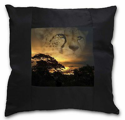 Cheetah Watch Black Border Satin Feel Cushion Cover With Pillow Inser, AT-41-CSB