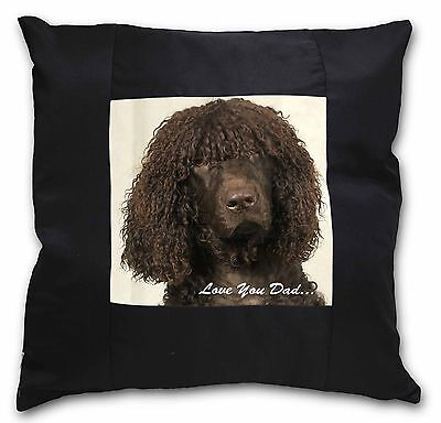 Irish Water Spaniel 'Love You Dad' Black Border Satin Scatter Cushio, DAD-59-CSB