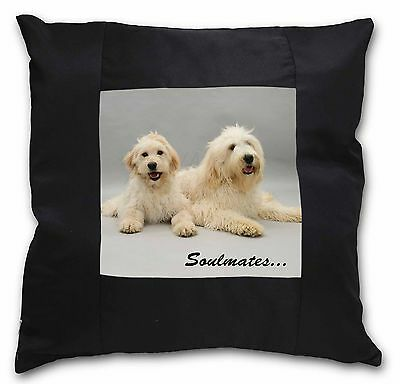 Labradoodle Dogs 'Soulmates'  Black Border Satin Scatter Cushion Ch, SOUL-40-CSB