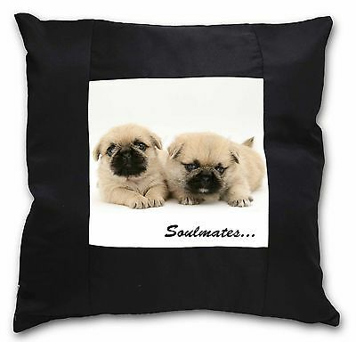 Pugzu Puppy Dogs 'Soulmates' Black Border Satin Scatter Cushion Chr, SOUL-42-CSB