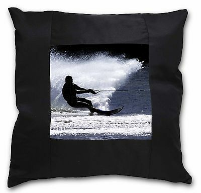 Water Skiing Sport Black Border Satin Feel Cushion Cover With Pillow, SPO-W1-CSB