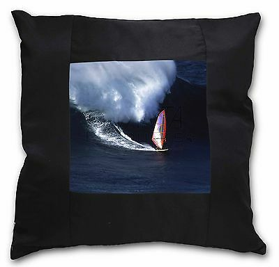 Wind Surfer Black Border Satin Feel Cushion Cover With Pillow Inser, SPO-WS2-CSB