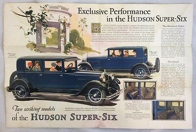 Original 1920s Hudson Super Six Car Automobile Antique Fold Out Color Brochure
