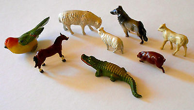 Vintage Antique Lead Toy Animal Figures Hand Painted Lot (x8)